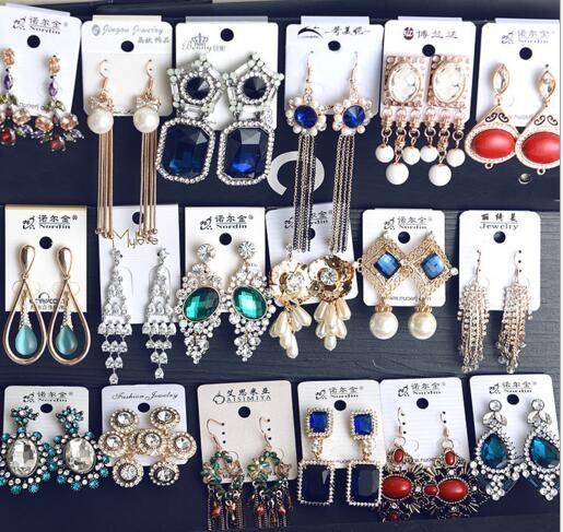 10 Pair / lotto Miscela i colori dei colori dei colori dell'orecchini di modo del cristallo Chandelier per gioielli regalo Craft EA1
