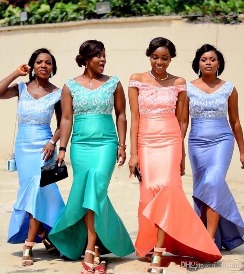 Afryki Nigerii Tanie Syrenki Druhna Suknie Hi-Lo Maid of Honor Dresses Satin Bez Rękawów Party Wedding Prom Dresses
