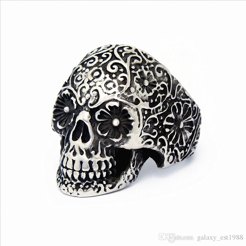 nuovi uomini all'ingrosso del cranio del cranio del cranio del punk del cranio dell'argento dell'acciaio inossidabile dei nuovi uomini 50PCs nuovi arrivo