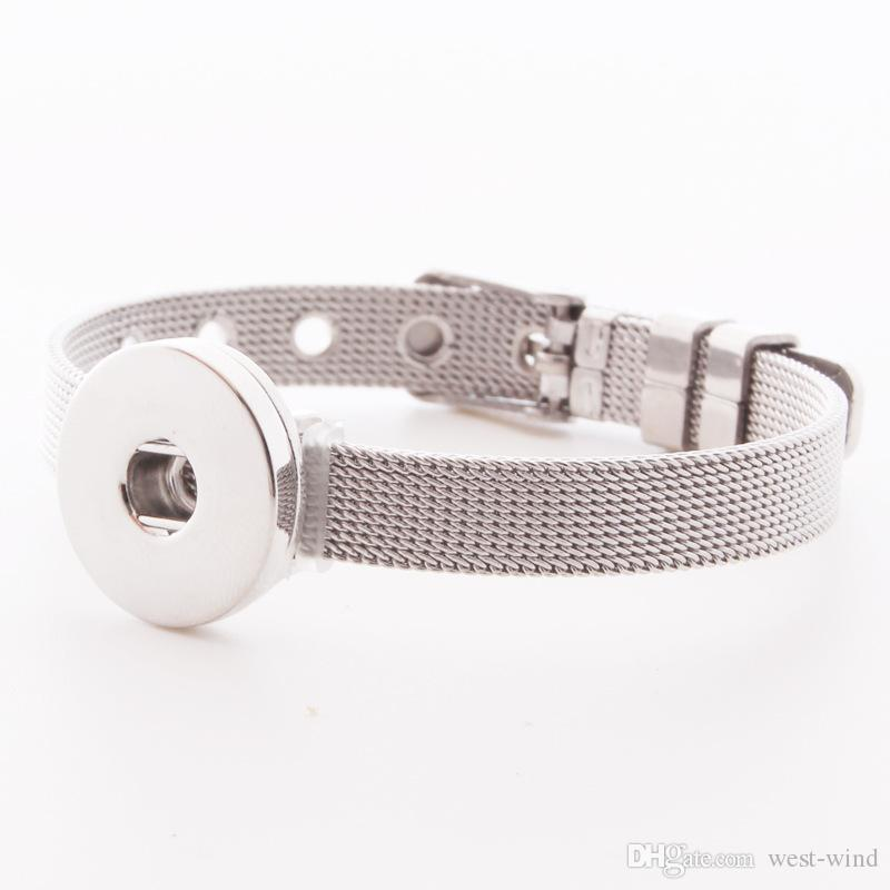 2016 Bracelets En Acier Inoxydable Bien Fait Bricolage Noosa Morceaux De Mode Interchangeable 18mm Snap Boutons Bijoux Femmes E618E