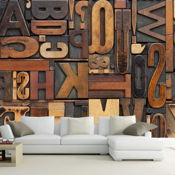 Vintage Letter Number Wallpaper 3D Giant Mural Painting bars KTV cafe Hallway restaurant decor Personality Wallpaper