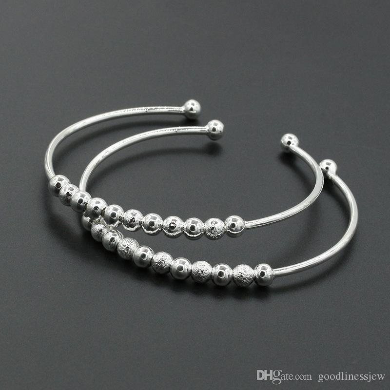 Braccialetti Braccialetti per le donne Moda Donna Argento placcato Perline Braccialetto a forma di polsino Bracciale Braccialetti per gioielli