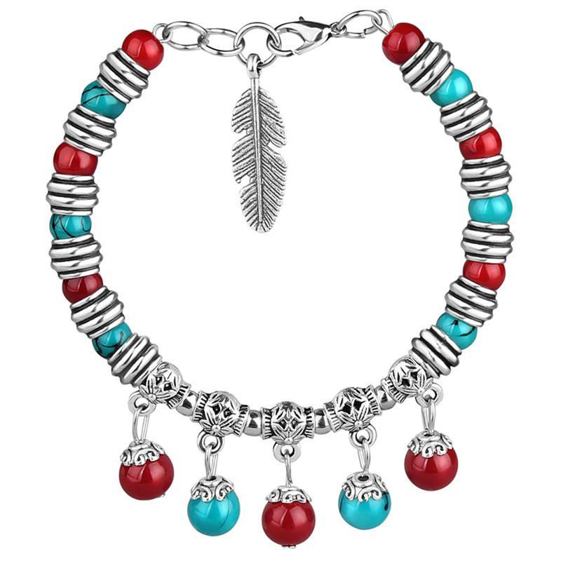 Bohemia Wind Femme Bracelet National Argent Perlé bonbons rétro filles colorées belle bracelet Bracelet en argent tibétain
