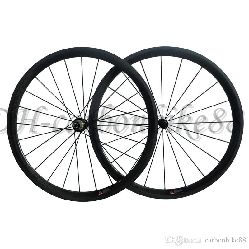 38mm clincher carbon fiber road bike wheels with powerway R13 hub 8/9/10/11 Speed 3k matt/glossy painted wheelsets