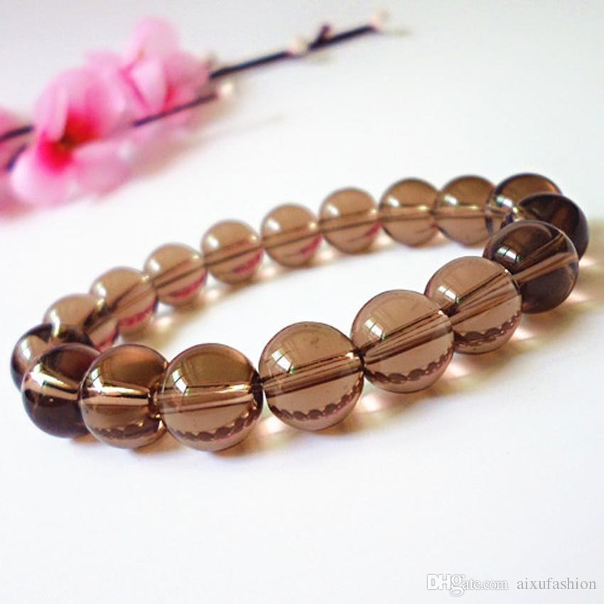 أفضل بيع الطبيعية كريستال الكوارتز 10 ملليمتر الخرز أساور سموكي كوارتز ستون سوار مطاطا الأزياء والمجوهرات للنساء هدية