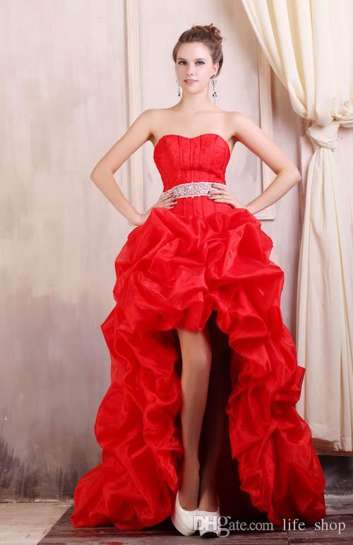 Abiti da sera Hi Red reale con scollo a cuore in rilievo con cintura increspato Abiti da sera da sera su misura