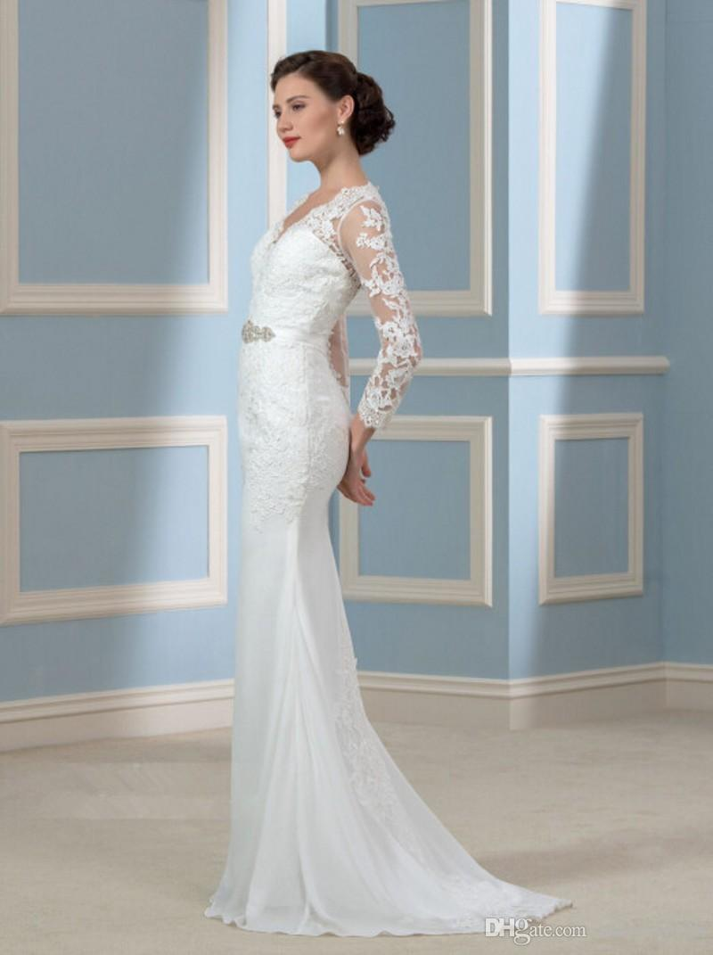 Charming Long Sheath Wedding Dresses With Long Sleeves Beads Lace ...