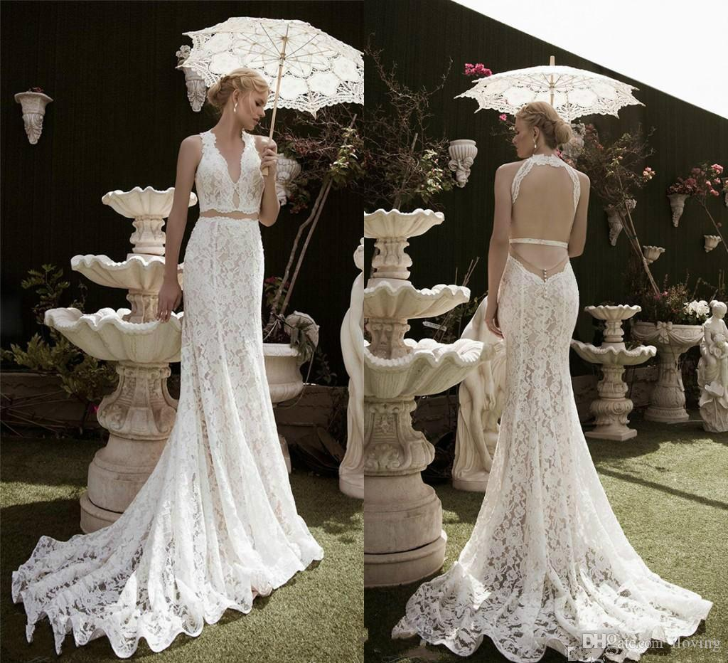 Two Pieces Mermaid Bridal Gown 2016 Beach Lace Wedding Dresses Long ...