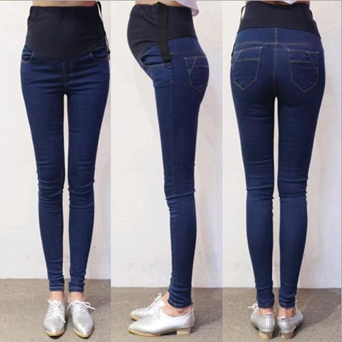 Primavera Otoño Denim Jeans Maternidad Pantalones del vientre Ropa para mujeres embarazadas Cintura Ajustable Lápiz Embarazo Pantalones Desgaste