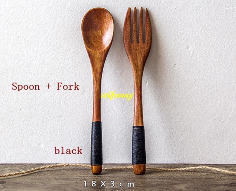 20 set / lotto Spedizione gratuita 18 * 3 cm Cucchiaio di legno + Forchetta di legno Utensile da cucina Utensile da cucina Zuppa Cucchiaino Cucchiaio Strumenti