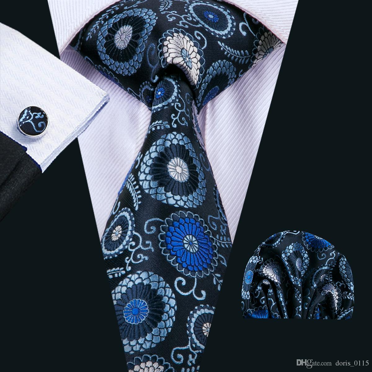 الرجال الأزرق العلاقات الكلاسيكية الحرير التعادل مجموعات الأزهار رجل ربطات العنق التعادل المنديل أزرار أكمام الجاكار المنسوجة اجتماع الأعمال حفل زفاف N-1556