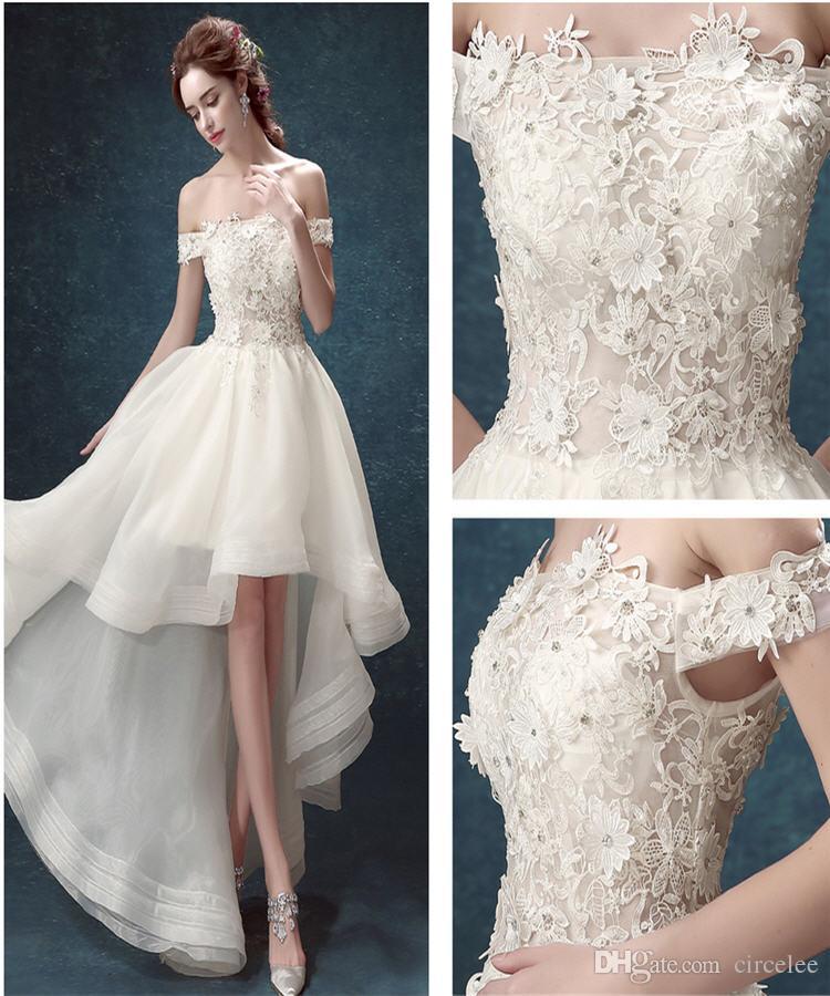 Cheap 2017 Short Front Long Back Wedding Dresses Online Cheap