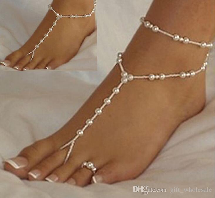 barefoot sandals stretch anklet chain with toe ring slave anklets chain 1pair/lot retaile sandbeach wedding bridal bridesmaid foot jewelry