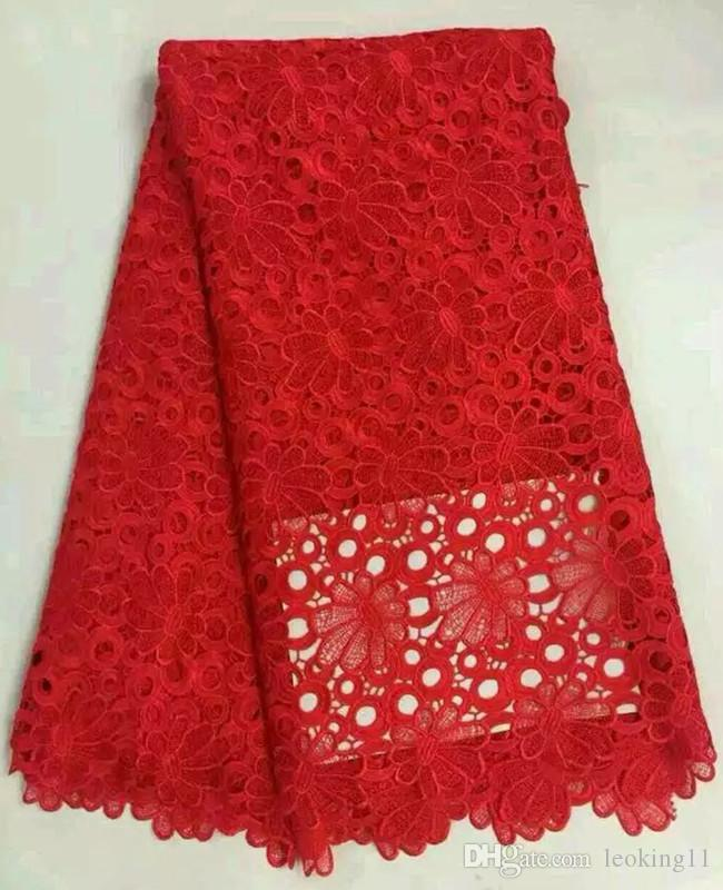 Gorgeous red flower pattern african cord lace fabric with nice embroidery water soluble mesh lace for aprty dressing DW1-3