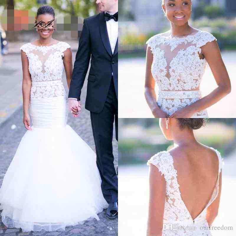 Sheer Jewel Neck Sereia Vestidos de Casamento 2019 New V Voltar Ruffles Saia Vestido De Novia Árabe Dubai África do Sul Vestidos de Noiva