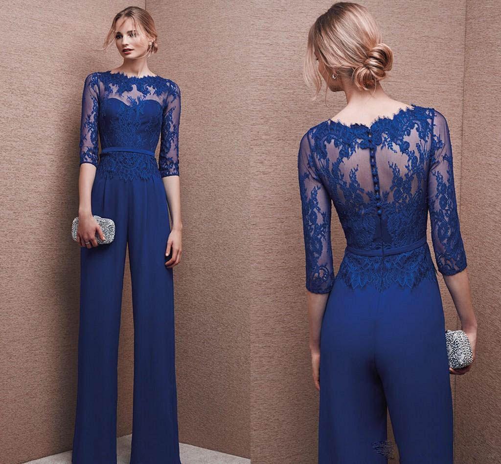 2019 Moda Anne Gelin Pantolon Takım Elbise Uzun Kollu Dantel Artı Boyutu Anneler Kat Uzunluk Abiye giyim