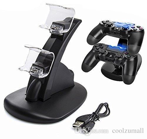 충전기 도킹 스테이션은 소니 플레이 스테이션 4 PS4 PS4 프로 PS4 슬림 무선 컨트롤러 듀얼 충전기 LED 라이트 스탠드 충전 듀얼 USB