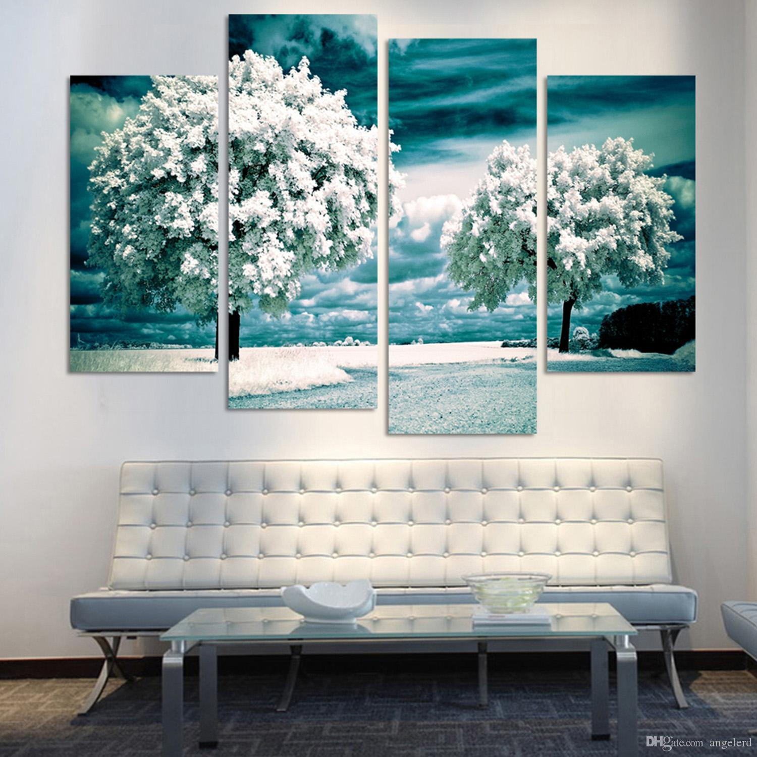 Panel Tree Painting Canvas Wall Art Picture Home Decoration