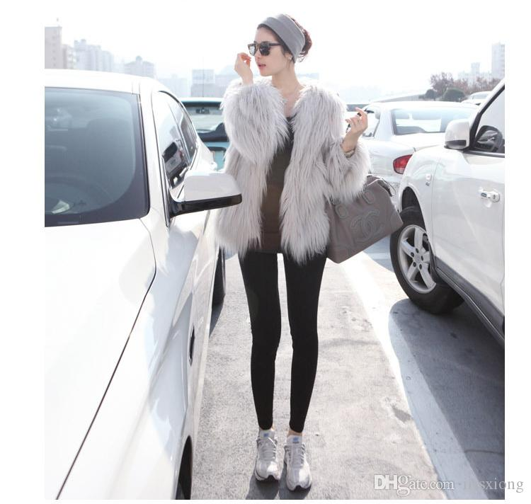 Women White Black Faux Fur Coat Elegant Ladies Polo Neck Long Sleeve Bomber Jacket Winter Warm Pea-coat Overcoat S-2XL