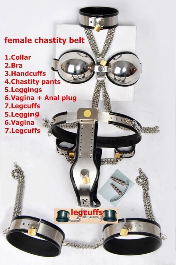 7 pcs / set dispositif de chasteté masculin / féminin / ceinture de chasteté en acier inoxydable de type T