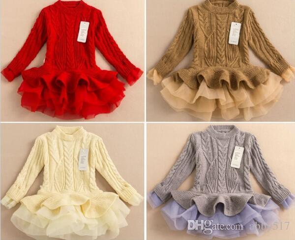 2016 봄 가을 키즈 Girls 니트 스웨터 원피스 TUTU 베이비 걸스 Tulle 레이스 겨울 공주님 점퍼 스웨터 원피스 무료 배송