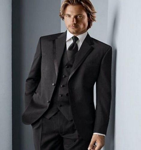 Выполненная на заказ Mens Black Шерсть Смешанное Groom костюмы Свадебные смокинги Формальные деловые костюмы (куртка + брюки + жилет + галстук)