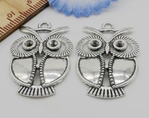 100pcs pendenti di fascini d'argento antichi del gufo per monili che fanno 34x21mm