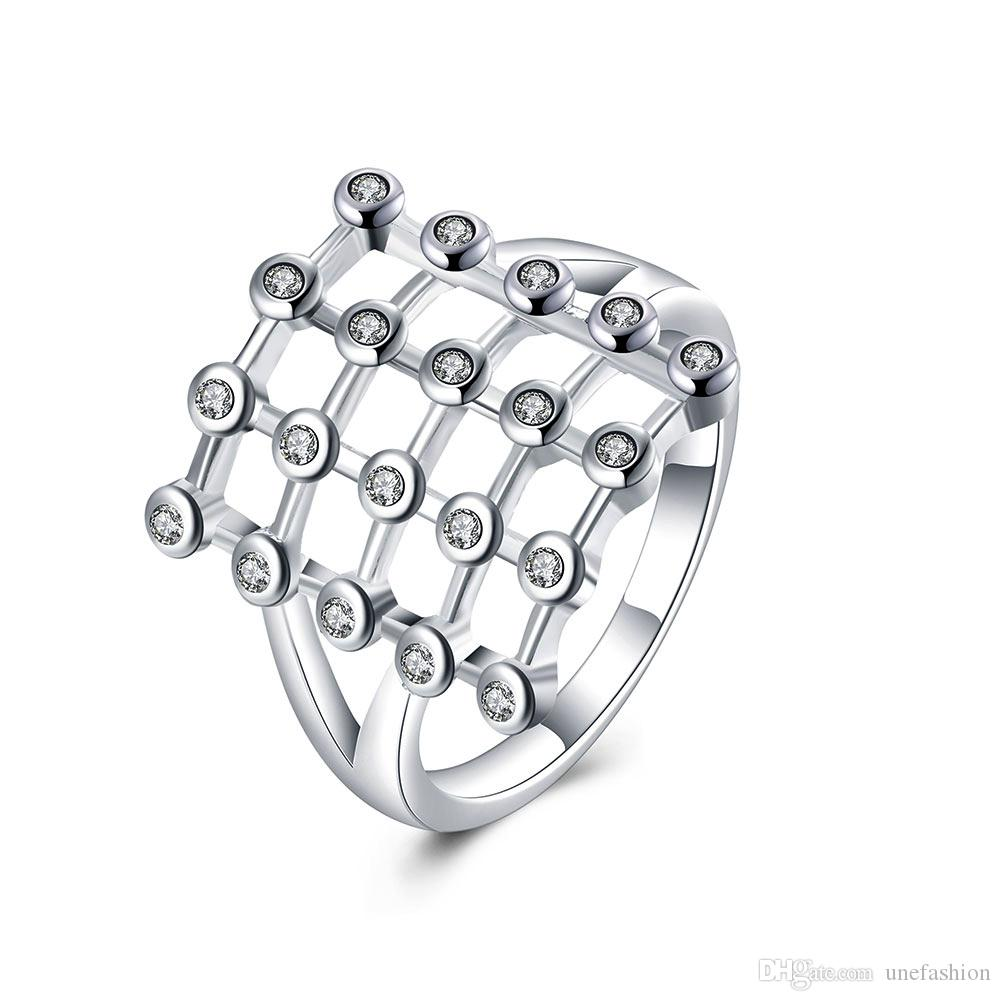 Hallow Out Square Diamond Rings Fashion Jewelry Silver Rings For Women  Finger Rings Design Wholesale Geometry