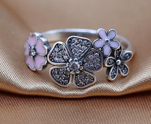 2016 NOVA anéis de primavera 100% 925 anel de Prata Esterlina com clear CZ Shimmering Bouquet, esmalte rosa se encaixa para Pandora Estilo Jóias Moda