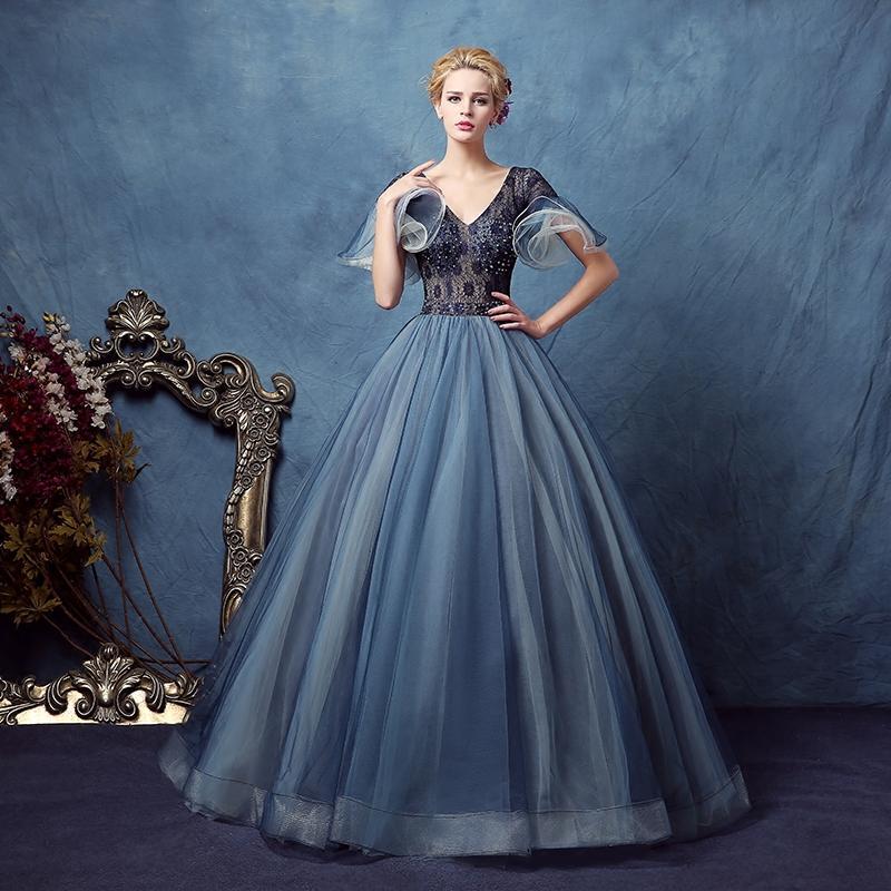 Curva manica pizzo blu scuro Blaining Velo Court Ball Gown Abito Medievale Rinascimentale Victoria / Antoinette / Belle Ball