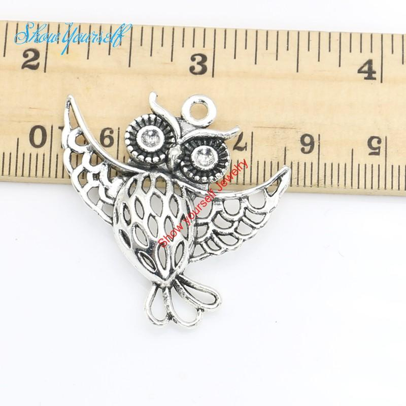 5pcs/lot Antique Silver Plated Owl Charms Pendants for Necklace Jewelry Making DIY Handmade Craft 36x35mm