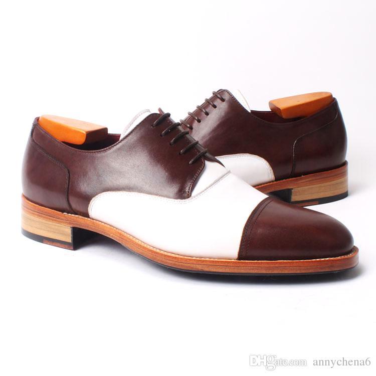 Scarpe da uomo Scarpe oxford Scarpe da uomo Scarpe fatte a mano personalizzate wingtip Vera pelle di vitello Color split HD-N036
