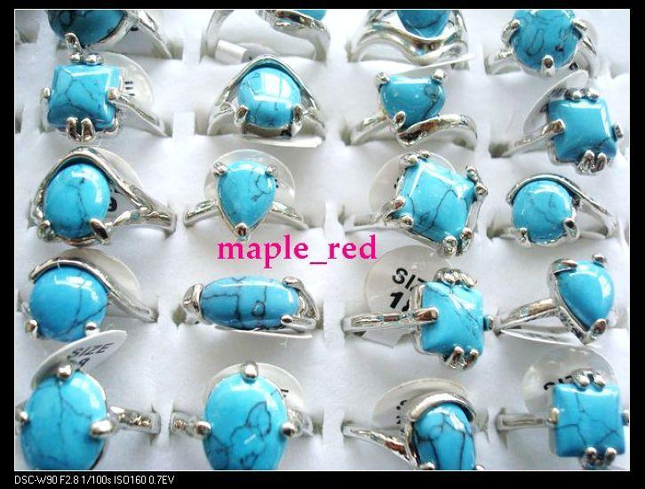 Großhandel 30pcs / lot Vintage-Look blau Türkis Stein Ringe Multi-Design Mischgrößen für Frauen Modeschmuck Ringe