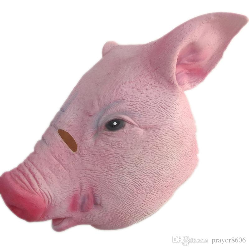 Halloween Pink Pig Latex Mask Cute Cartoon Masquerade Party Costume props Full Face Pet Pig Masks