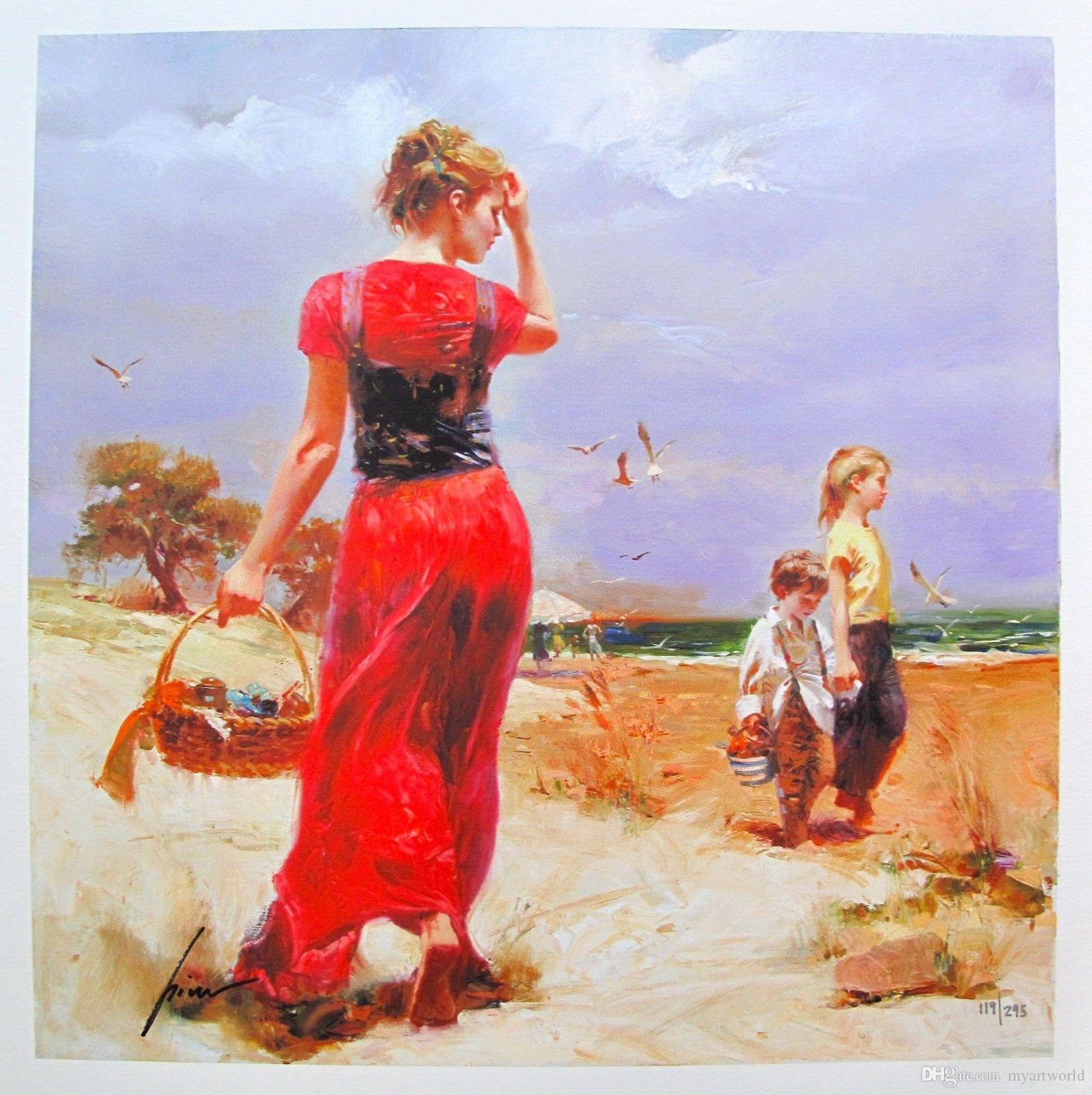 """Amazing High Quality genuine Pure Hand Painted Portrait Art oil Painting On Thick Canvas Multi Size,PINO DAENI """"SEASIDE GATHERING"""""""