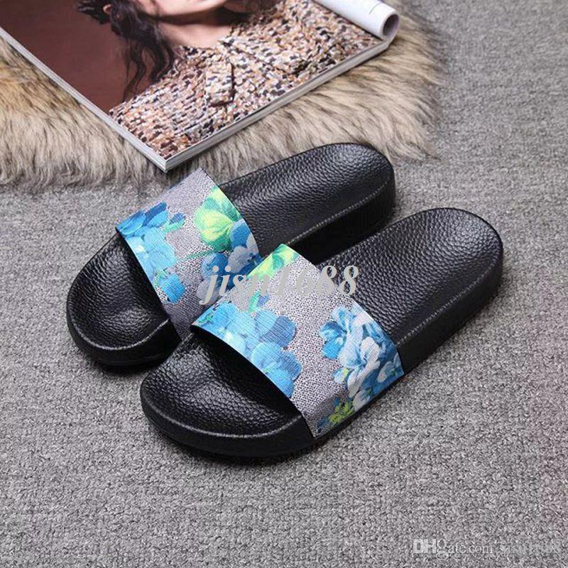 free shipping mens and womens fashion flower print slide slippers lovers summer outdoor beach flip flops 35 colors