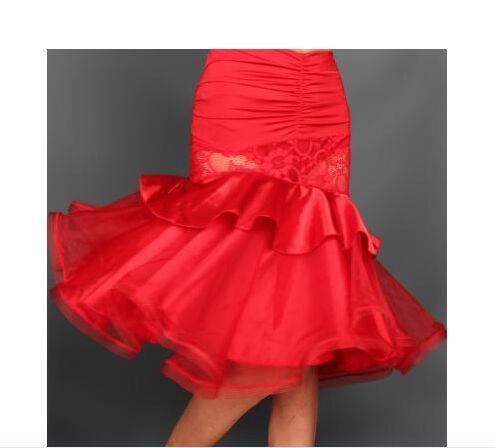 2017 Nueva Falda de Danza Latina Rose / Negro / Rojo / Azul Samba / Vestidos de Baile Dancewear Baile de Encaje Vestido de Baile Vestido De Baile Latino