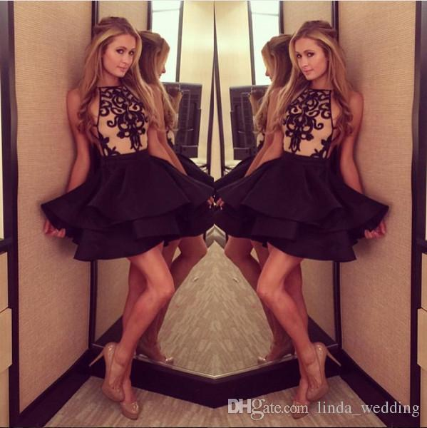 2019 curto vestido de baile sexy cor preta applique cocktail dress vestido de baile vestido de festa à noite plus size vestidos de festa