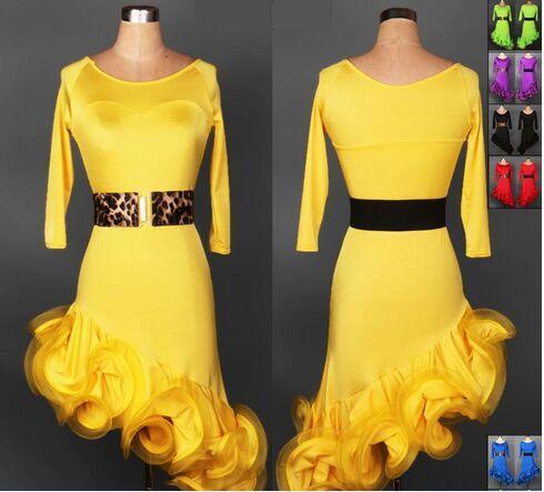 2018 Custom MAde New Latin Ballroom Dresses Amarillo / Rojo / Rosa / Verde / Negro / Púrpura / Azul Traje de baile Latine para mujeres Ropa de baile latino