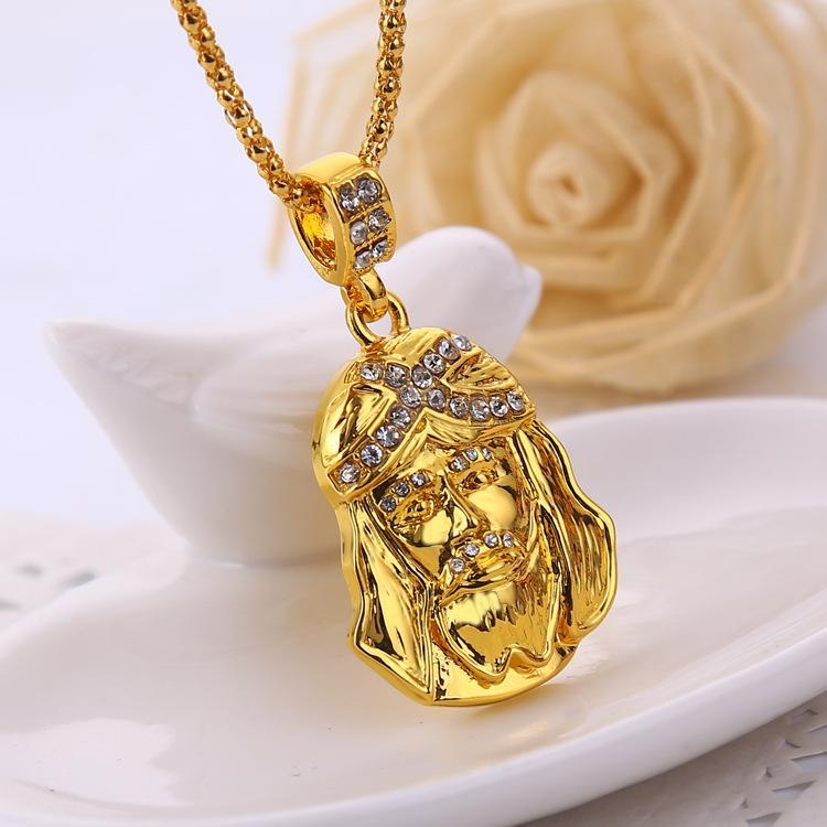 2016 Date designer Hip-Hop collier Jésus tête avec cristal Pendentifs collier pour hommes femmes déclaration collier plaqué or fashion jewelr
