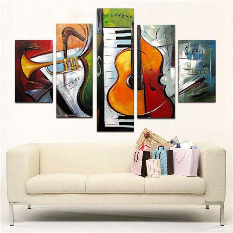 Pintura a óleo de alta qualidade 100% pintados à mão parede arte instrumentos musicais decoração de arte moderna pintura a óleo abstrata 5 pçs / set