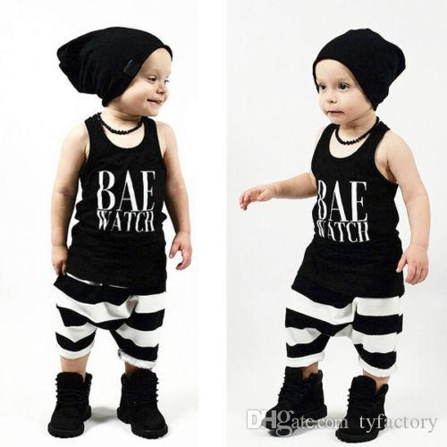 2016 high quality baby suits Summer style kids boys girls BAE WATCH letter printed Clothes Infant Outfits black tank top+long Pants boy Sets