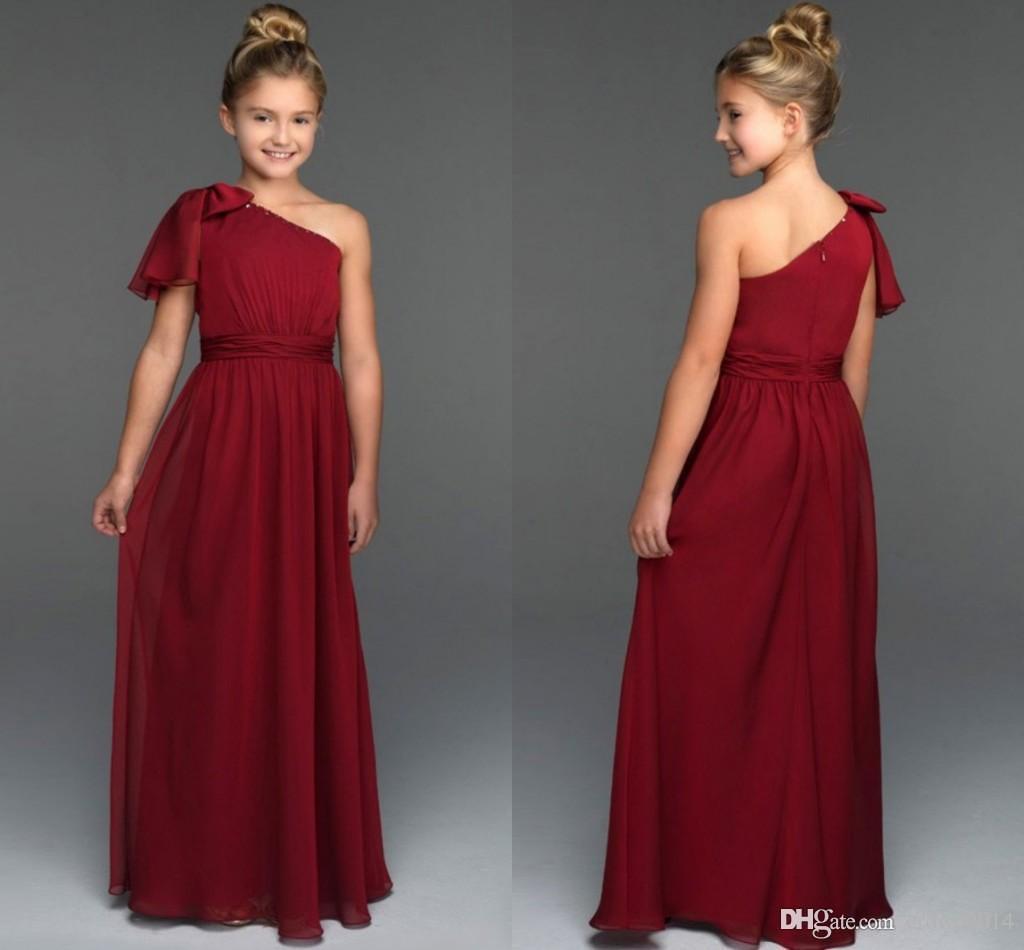 Burgundia Plised 2021 Kwiat Girl Dresses One-Ramię Długość Podłogowa Zipper Back Princess New Flower Girl Suknie z Bow Girls Pagewant Dress