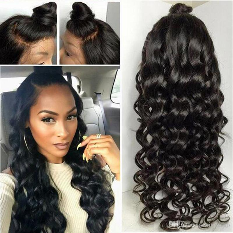 Lace Front Wig Loose Wave Hand Tied Malaysian Human Hair Wigs Dyed Glueless Full Lace Wigs Around Baby Hair Bleached Knots