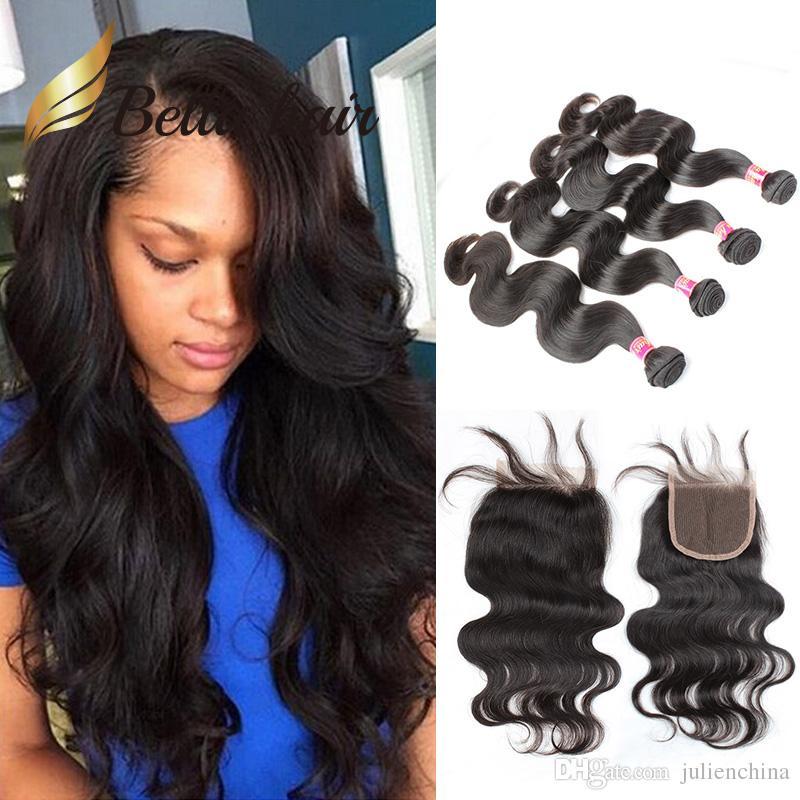 5pcs/lot Brazilian Virgin Hair Bundles with Closure Full Head 4 Bundles Hair Weft+1pc Top Lace Closure(4*4) Natural Color Body Wave