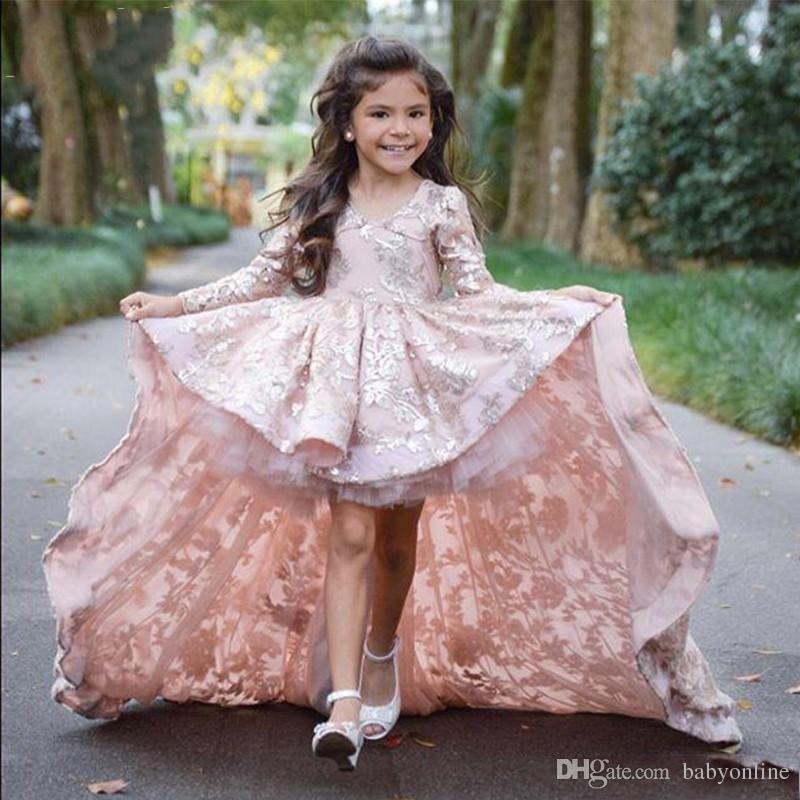 웨딩 레이스에 대 한 분홍색 높은 낮은 긴 sleeve 꽃의 소녀 드레스 applique 여자의 Pageant 가운 Sweep 기차의 어린이 파티 Prom 파티 드레스