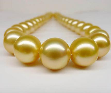 Splendida collana di perle in oro del mare naturale 10-11mm con chiusura in oro 14 kt da 19 pollici
