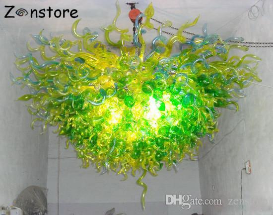 Италия Зеленый Люстра Гостиная Декор Цепные Люстры 100% ручной выдувного стекла Люстра LED Люстра светильник
