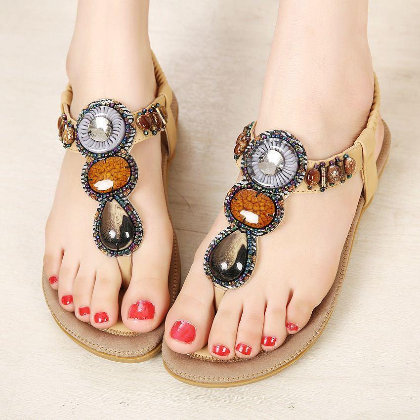 Hot nouvelle arrivée bonne sandales perlées Bohemia Flops taille chaussures commerce de gros une génération livraison gratuite