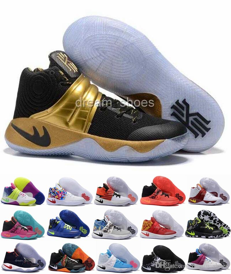 f14266278b63d 2016 Kyrie Irving Shoes Black Gold Champion USA Triple Black Kyrie 2 Mens  Basketball Shoes Kyrie 2s Sneakers